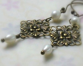 Floral Filigree Pearl Earrings, Antique Brass, See Matching Bracelet - BOTH REDUCED - Vintage Style Bridal, June Birthday