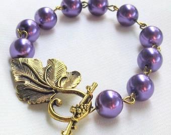 Grape Leaf Toggle Bracelet, Purple Amethyst Glass Pearls, Antique Gold Grape Leaf & Vine Clasp ... Nature Inspired Jewelry