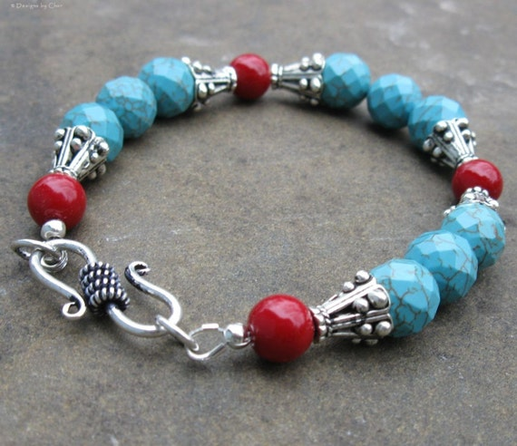 Genuine Turquoise and Brick Red Bracelet, Fancy S Clasp... Southwest Classic
