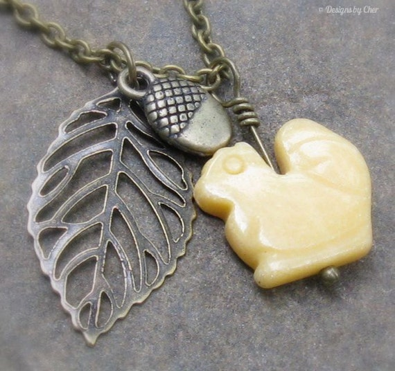 Jade Squirrel, Acorn & Leaf Antique Brass Adjustable Charm Necklace... Autumn Jewelry