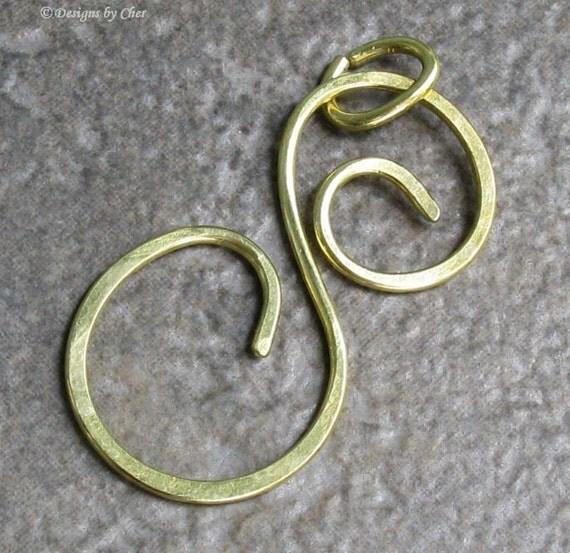 Large Brass Swirl S Pendant, Hammered (16 gauge) Metalwork...Natural or Antiqued Finish