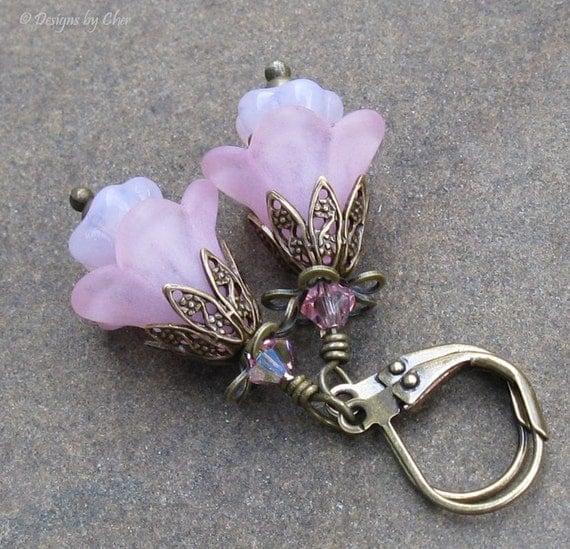 Pink Lucite Flower Earrings Antique Brass Leverbacks Glass