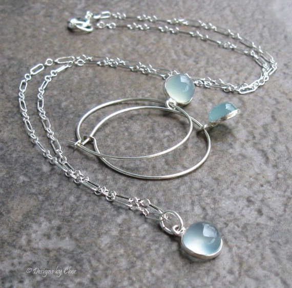 Sterling Silver Pendant & Earring Set, Aquamarine Chalcedony... Petite Collection