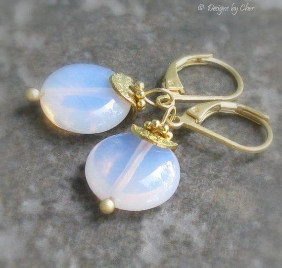 Pink Opalite Earrings, Gold Satin Leverbacks... Glowing Glass Sea Opal Coins