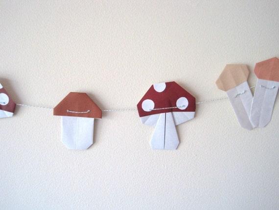 Origami Mushroom Bunting