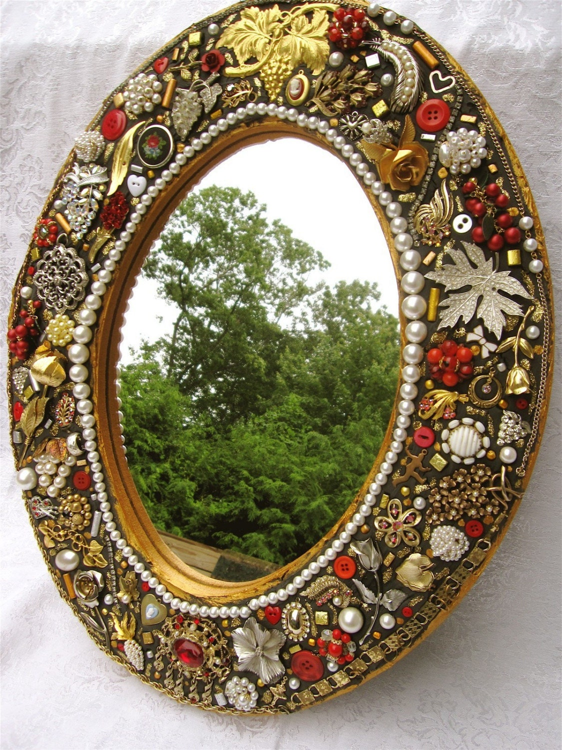 Wine and roses vintage jewelry mosaic mirror by laurawinzeler for Mosaic mirror