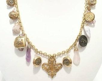 Vintage Charm Fleur de Lis and Button and Gemstone Necklace
