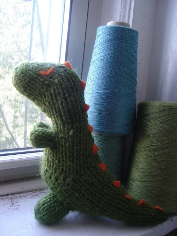 Knitting Pattern Dinosaur Toy : Destructo the Dinosaur-knitted toy pattern PDF