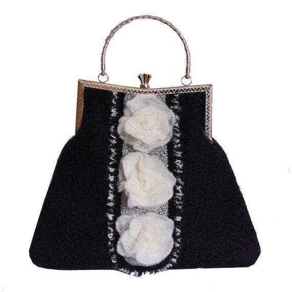 SALE - Night Garden Handfelted Bag
