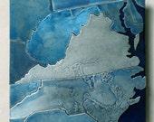 Custom Map Art, metal blue United States 8 inch