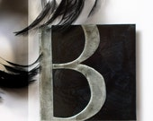 Custom Metal Letter Art, 5in smoke gray and black letter of your choice