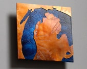 Copper Map Art of Lake Michigan 5 inch