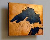 Copper Metal Map Art of Lake Superior 5x7 inch