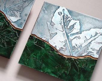 Metal Art Etched Leaf Landscape triptych, Metal nature art of hillside, Landscape leaf etching original metal artwork by Copper Leaf Studios