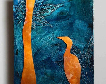 Copper Nature Art Bird on Teal metal wall art, copper artwork with egret, original metal artwork by Copper Leaf Studios