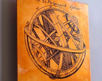 Copper Art Science diagram of armillary sphere, Astronomy scientific illustration copper artwork, gift for science geek