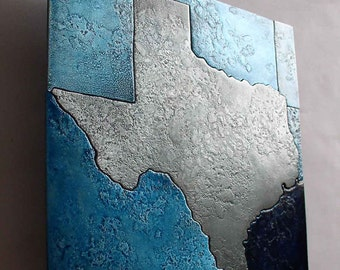 Metal Texas Map Art in silver and blue, Cut metal wall art map of Texas, State of Texas map artwork, gift for him by Copper Leaf Studios