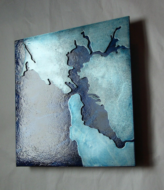 San Francisco Ice Blue Metal Art Map, Map art of San Francisco Bay, Metal wall art of San Francisco California by Copper Leaf Studios