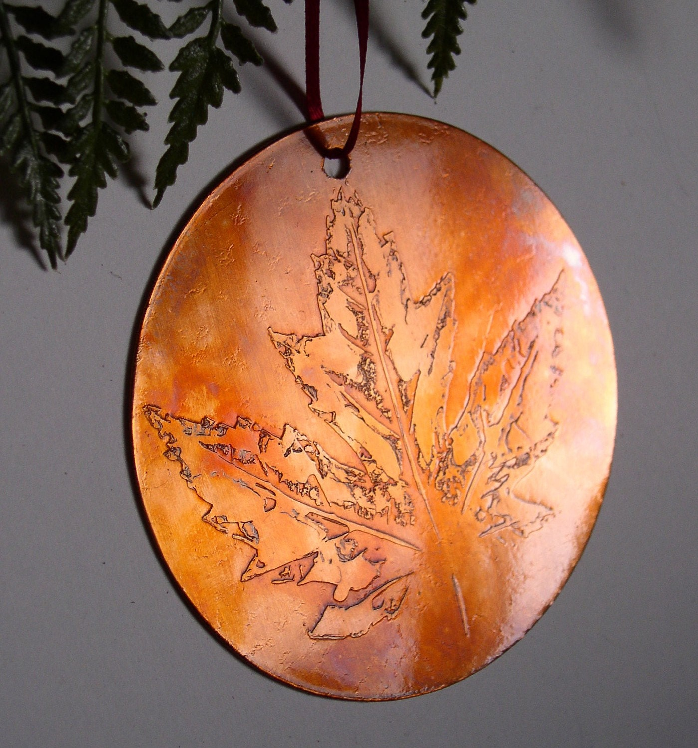 Copper art maple leaf holiday ornament