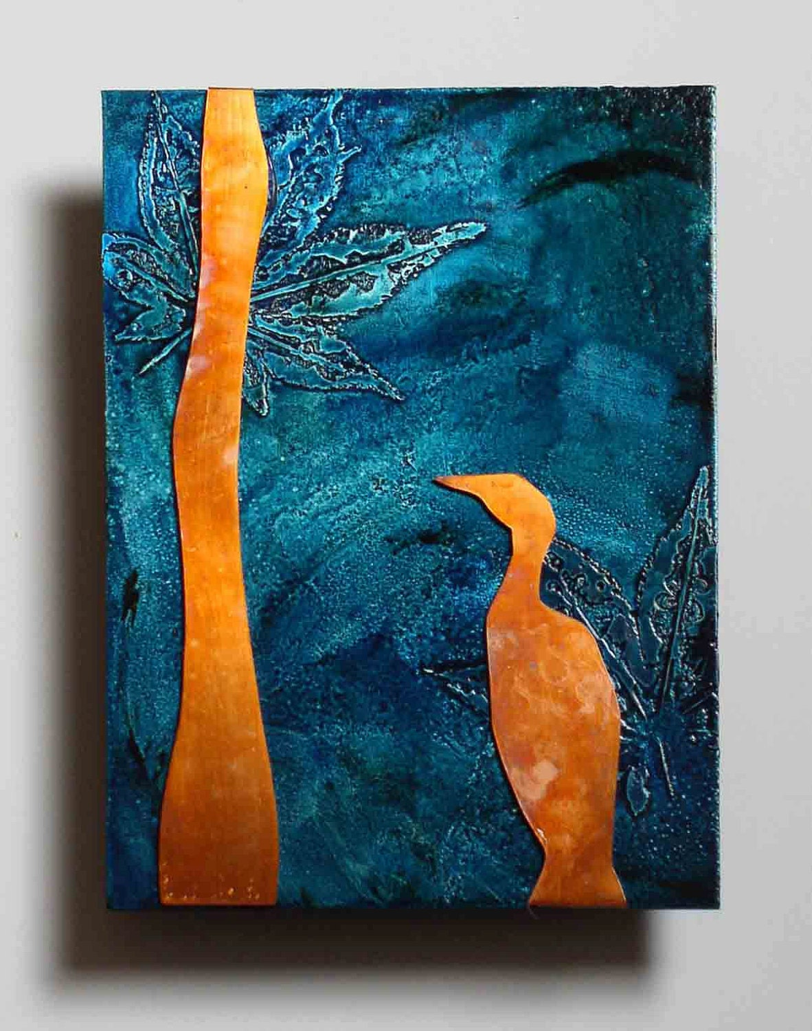Copper nature art bird on teal metal wall art copper artwork for Copper wall art