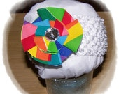 Pinwheel Rainbow Bow with Bling