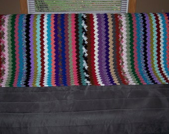Crocheted Tall Single Multicolored Afghan