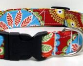 Gypsy Rose Bandana KALEIDOSCOPE in Red By Michael Miller Handmade Dog Collar