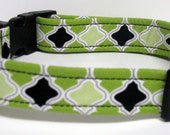 Lime Green, Light Green and Black print Handmade Dog Collar