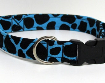 Teal Blue and Black Leopard Print Handmade Dog Collar