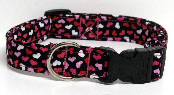 Romeo Pink, Red, and White Hearts Handmade Dog Collar