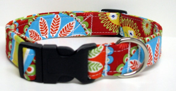 Gypsy Rose Bandana KALEIDOSCOPE in Red By Michael Miller Handmade Dog Collar