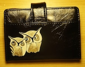 Golden Owl Friends - Hand Painted on New Black Wallet - Photo Holder - 25% of Sales Donated