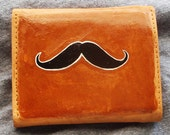 Unique Hand Painted Mustache Wallet - New Tan Leather Billfold - 25% Donated