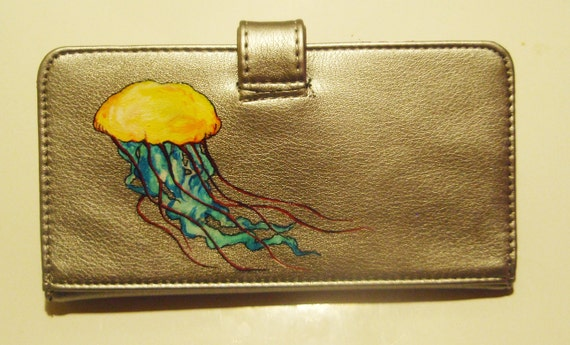 Hand Painted Vibrant Jellyfish - Silver Vegan Wallet - Purse - 25% Donated
