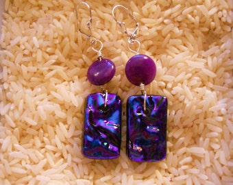 PURPLE passion fused glass  DICHROIC EARRINGS