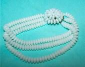 Vintage 3 Strand White Milk Glass Bead Bracelet 1950s