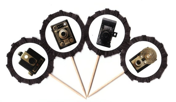 FOR BERNICE Vintage Camera Cupcake Picks Toppers Set of 8