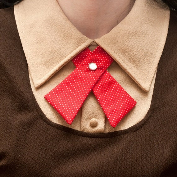 Womens Neck Tie - Red with Tiny White Polka Dots