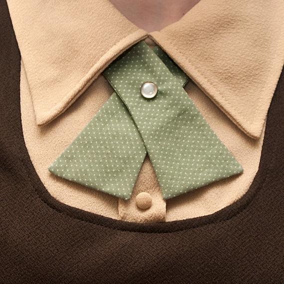 SALE Womens Neck Tie - Seafoam Green with Tiny White Polka Dots