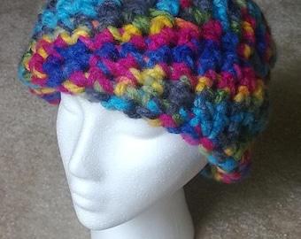 bright chunky crochet hat