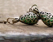Recycled Vintage Emerald  Beer Bottle Brass Filigree Teardrop Earrings