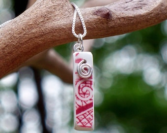 Vintage Pink Willow Closed Spiral Necklace