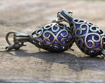 Recycled Amethyst Glass Bottle Brass Filigree Teardrop Earrings