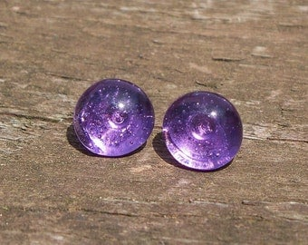 Recycled Vintage Amethyst Glass Bottle Post Earring
