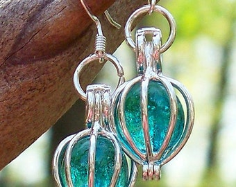 Recycled Antique Mason Jar Silver Drop Earrings
