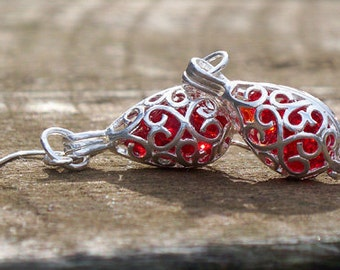 Recycled 1940's Ruby Beer Bottle Silver Filigree Teardrop Earrings