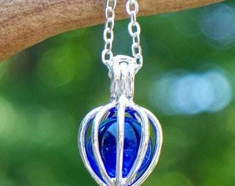 Recycled Noxzema Jar  Drop Necklace