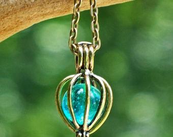 Recycled Mason Jar  Drop Necklace/Rustic/Brass/Blue Mason Jar/Something Blue/Vintage/Recycled Jewelry/Aquamarine/Handmade/Glass Bottles