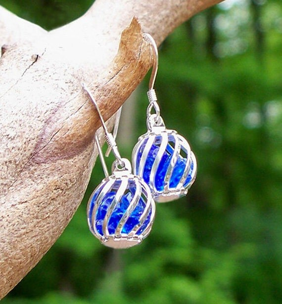Reclaimed Cobalt Vintage Noxzema Bottle Cage Earrings