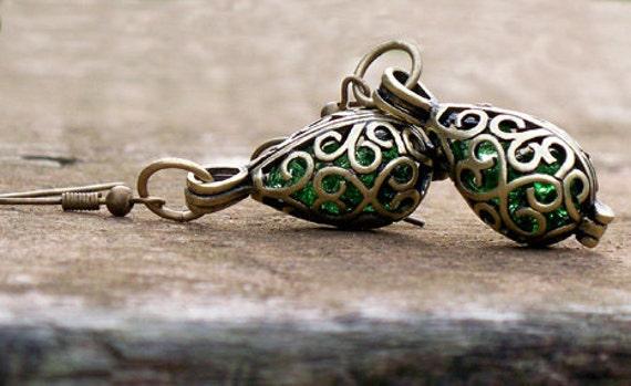 Recycled Vintage Emerald  Beer Bottle Brass Filigree Teardrop Earrings